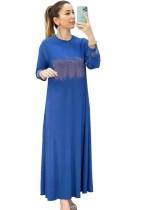 Yaz Dubai Arap Orta Doğu Müslüman Kaftan İslami Abaya Mavi Uzun Elbise