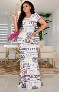 Zomer formele korte mouwen Dollar lange jurk
