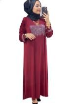 Yaz Dubai Arap Orta Doğu Müslüman Kaftan İslami Abaya Kırmızı Uzun Elbise