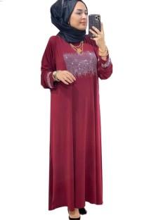 Sommer Dubai Arabischer Naher Osten Muslimischer Kaftan Islamisches Abaya Rotes Langes Kleid