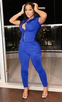 Costume d'été décontracté bleu sans manches chemisier et pantalon 2PC