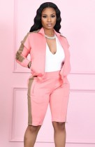 Chándal de pantalones cortos de manga larga con cremallera rosa otoño