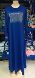 Verano Dubai árabe Oriente Medio musulmán Kaftan islámico Abaya vestido largo azul