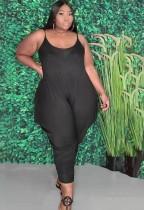 Summer Plus Size Casual Black Strap Loose Jumpsuit