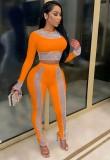 Autumn Orange Party Sexy Crop Top y pantalones con cuentas, conjunto de 2 piezas