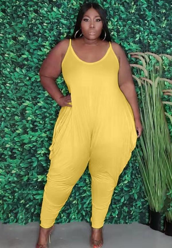 Mono holgado con tirantes amarillos casuales de talla grande de verano