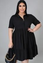 Vestido skater negro casual de talla grande de verano