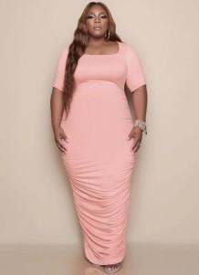 Zomer grote maat roze lange jurk met ruches