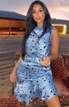 Sommer-Print Blau ärmelloses Meerjungfrau-Partykleid