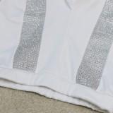 Conjunto de 2 piezas de pantalón y top corto con cuentas sexy de fiesta blanca de otoño