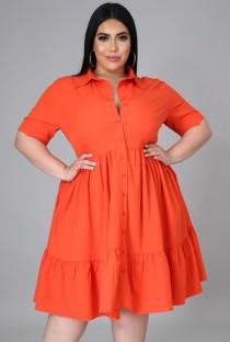 Robe patineuse orange décontractée d'été grande taille