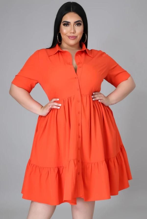 Vestido skater naranja casual de verano de talla grande