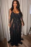 Vestido de noche largo con tirantes negros formales de verano