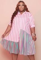 Sommer Plus Size Streifen Rosa Blusenkleid
