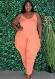 Mono suelto con correa rosa informal de verano de talla grande