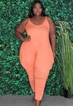 Summer Plus Size Casual Pink Strap Loose Jumpsuit
