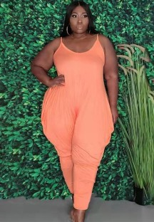 Zomer plus size casual roze band losse jumpsuit