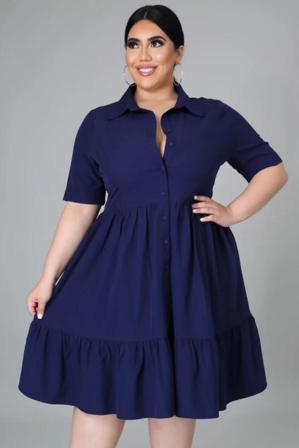 Vestido skater azul oscuro informal de talla grande de verano