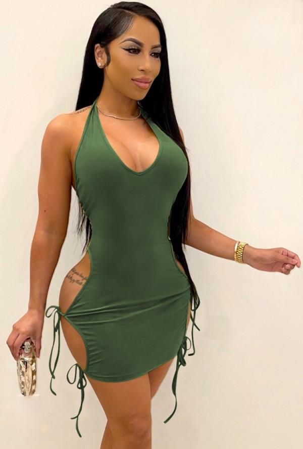 Fiesta de verano Vestido ajustado con tirantes recortados sexy verde