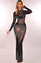 Yaz Resmi Siyah Boncuklu Uzun Kollu Uzun Abiye Elbise