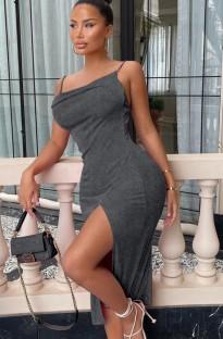Zomerfeest effen kleur midi-jurk met splitband