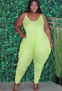 Zomer plus size casual groene riem losse jumpsuit