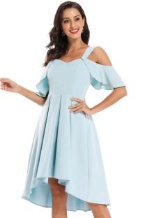 Robe de bal plissée à larges bretelles rétro bleu d'été