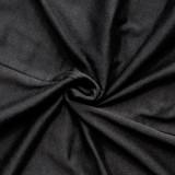 Vestido largo fruncido negro de talla grande de verano