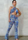 Summer Print Blue Wrap Halter Top and Pants Matching 2PC Set