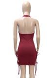Fiesta de verano Burgunry Sexy Cut Out Strings Halter Bodycon Dress