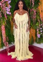 Summer Formal Yellow Ruffles Strap Long Evening Dress