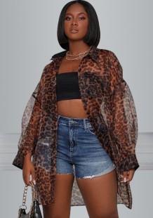 Zomerse luipaardprint doorschijnende blouse met lange mouwen