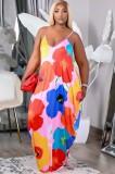 Vestido largo con correa floral informal de talla grande de verano