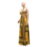 Vestido largo largo con cuello halter sexy dorado con estampado de verano