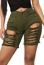 Summer Army Green zerrissene Denin-Shorts mit hoher Taille