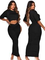 Conjunto de 2 piezas con top corto negro informal de verano y falda midi con pliegues