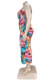 Vestido de fiesta largo sin mangas con hendiduras florales y tallas grandes de verano