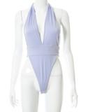Summer Party Purple Sexy Deep-V Body y minifalda Set