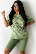 Verano Casual Green Tie Dye Shirt y Shorts de motociclista lisos Conjunto de 2 piezas