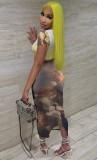 Vestido midi de manga corta con estampado sexy de fiesta de verano