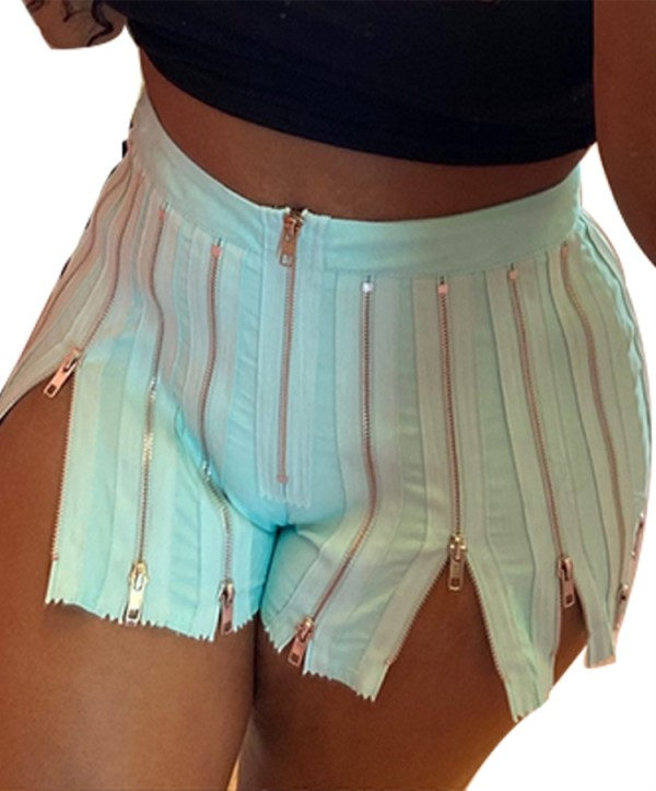 Summer Party Green Cremalleras sexy Slit Shorts