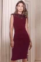 Vestido midi elegante superior de encaje rojo formal de verano