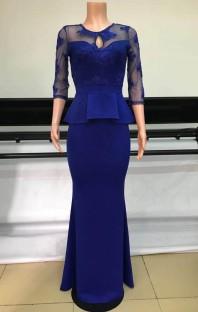 Vestido de noche de sirena Peplem con parche azul formal de verano