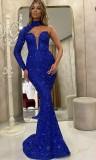 Vestido de noche de sirena con lentejuelas azules formales de verano con una sola manga