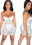 Conjunto de minifalda y top corto con tirantes de malla transparente de fiesta de verano