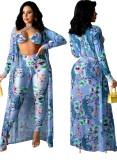 Sujetador y pantalones sexy con estampado de fiesta de verano con conjunto de 3 piezas en general a juego