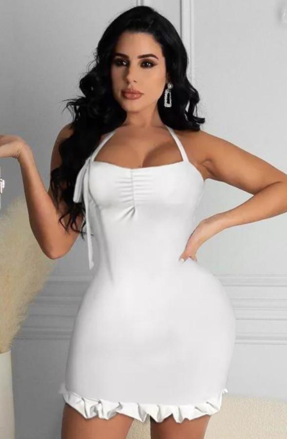 Vestido ajustado con cuello halter y sirena sexy blanco de fiesta de verano