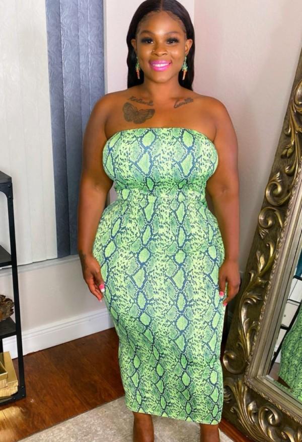 Vestido de club de tubo de piel de serpiente verde sexy de verano de talla grande