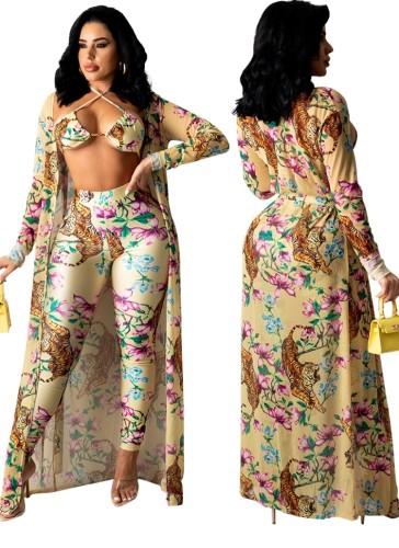 Soutien-gorge et pantalon sexy à imprimé de fête d'été avec ensemble 3PC assorti