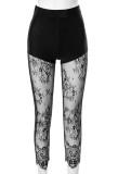 Leggings de cintura alta sexy con parche de encaje negro de fiesta de verano